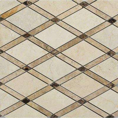 Grand Crema Marfil 11 in. x 12 in. x 10 mm Polished Marble Mosaic Tile