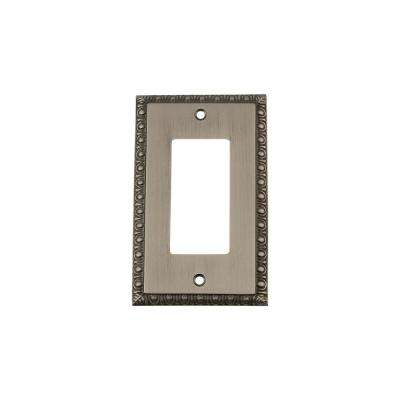 Egg and Dart Switch Plate with Single Rocker in Antique Pewter