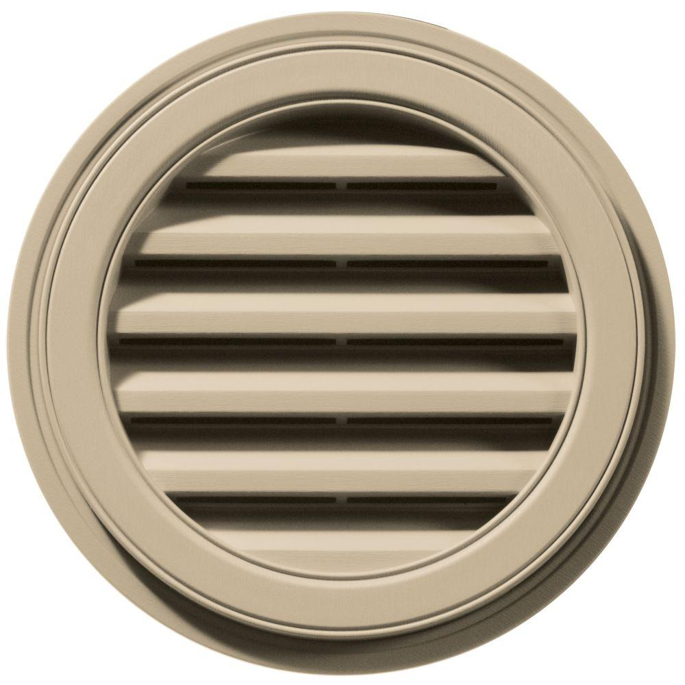 Builders Edge 18 in. Round Gable Vent in Light Almond