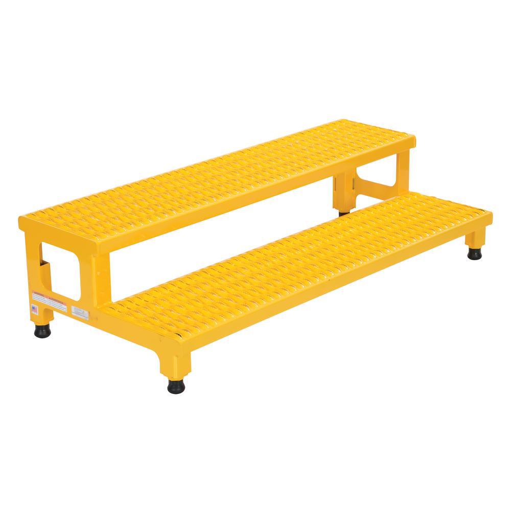 Vestil 48 inch x 23 inch 2-Step Adjustable Steel Step Stand by Vestil