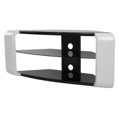 AVF 46 in. Gloss White Glass TV Stand Fits TVs Up to 55 in. with Cable Management