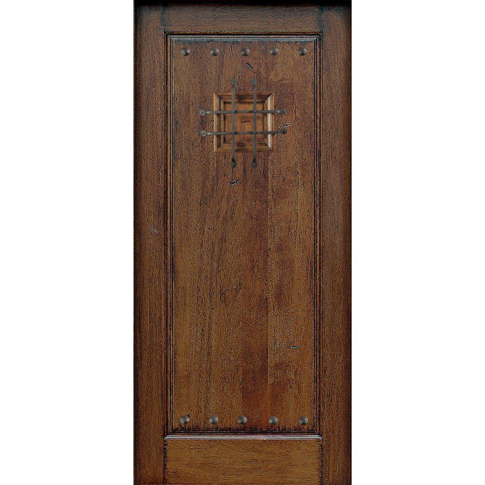 Main Door 36 in. x 80 in. Mahogany Type Prefinished Distressed Solid Speakeasy Rustic Finished Wood Front Door Slab