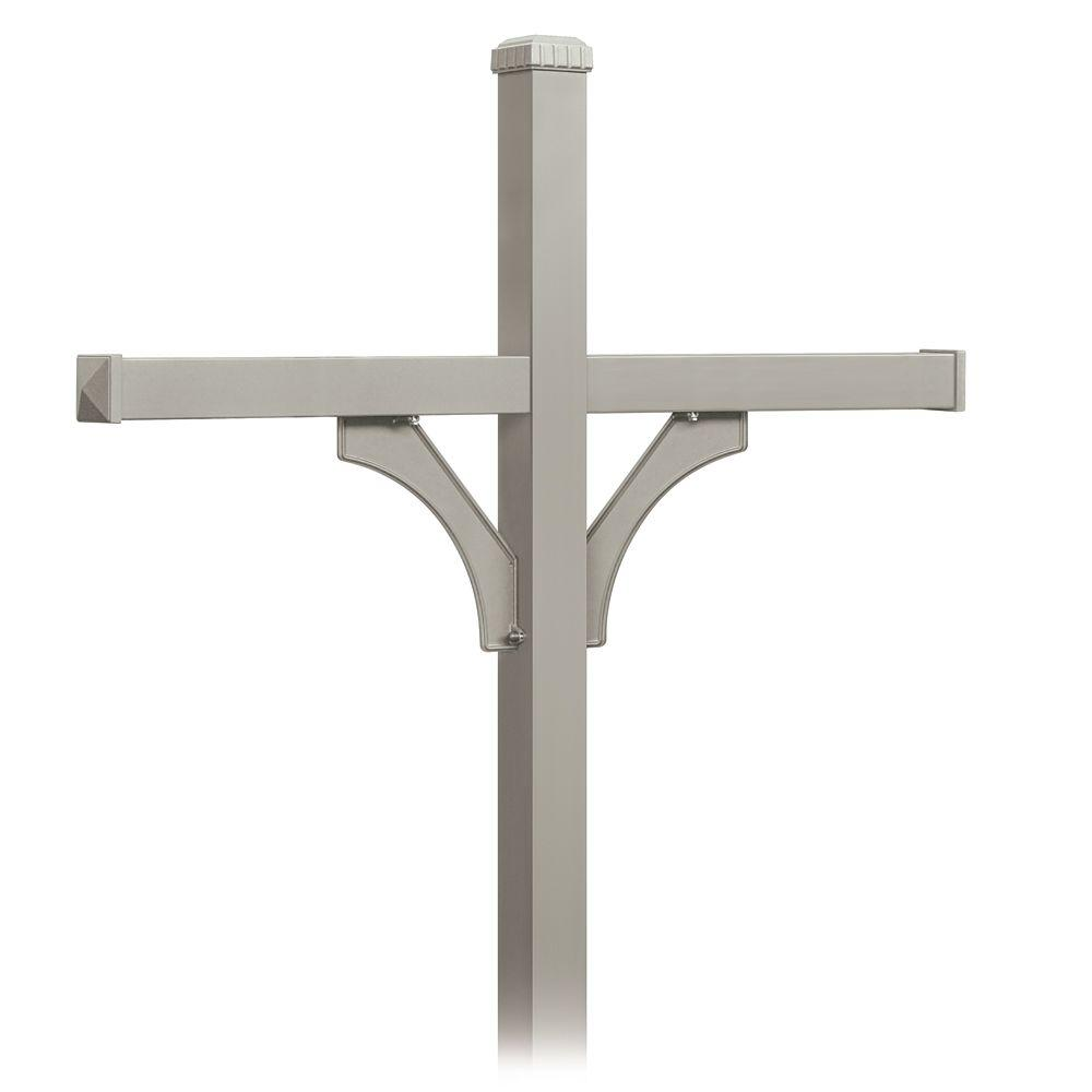 Deluxe 2-Sided In-Ground Mounted Post for 4 Designer Roadside Mailboxes, Nickel
