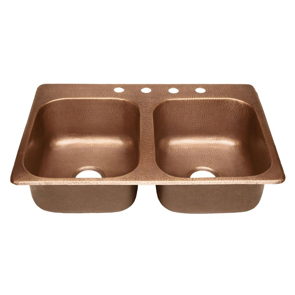 SINKOLOGY Raphael Drop In Handmade Pure Solid Copper 33 In. 4 Hole Double  Bowl Kitchen Sink In Antique Copper KDF 3322AH   The Home Depot
