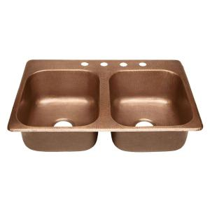 SINKOLOGY Raphael Drop-in Handmade Pure Solid Copper 33 inch 4-Hole Double Bowl Kitchen Sink in Antique Copper by SINKOLOGY