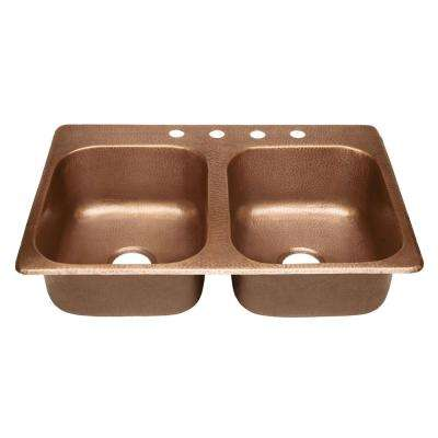 Raphael Drop-in Handmade Pure Solid Copper 33 in. 4-Hole Double Bowl Kitchen Sink in Antique Copper