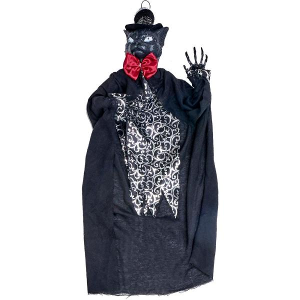 35 in. Halloween Hanging Mr. Cat with Lighted Eyes and Sound