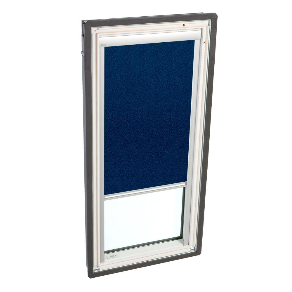 VELUX Truss Series 22-1/2 x 45-3/4 in. Fixed Deck-Mounted Skylight  LowE3 Glass Dark Blue Manual Blackout Blinds-DISCONTINUED