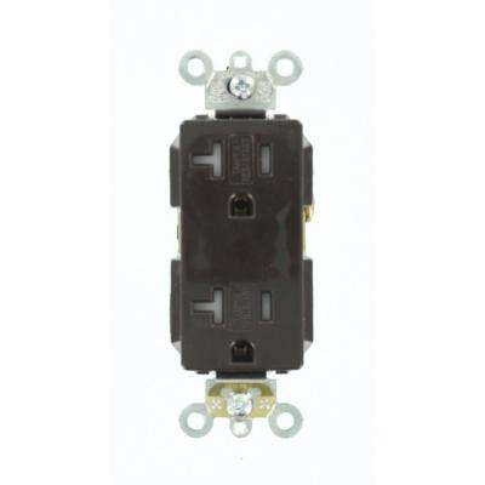 Decora Plus 20 Amp Tamper Resistant Self Grounding Duplex Outlet, Brown