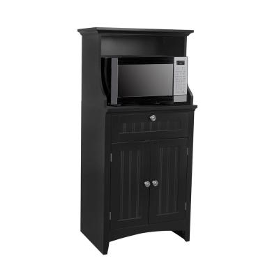 Casual Basics Black Microwave/Coffee Maker Utility Cabinet with Drawer and 2-Doors