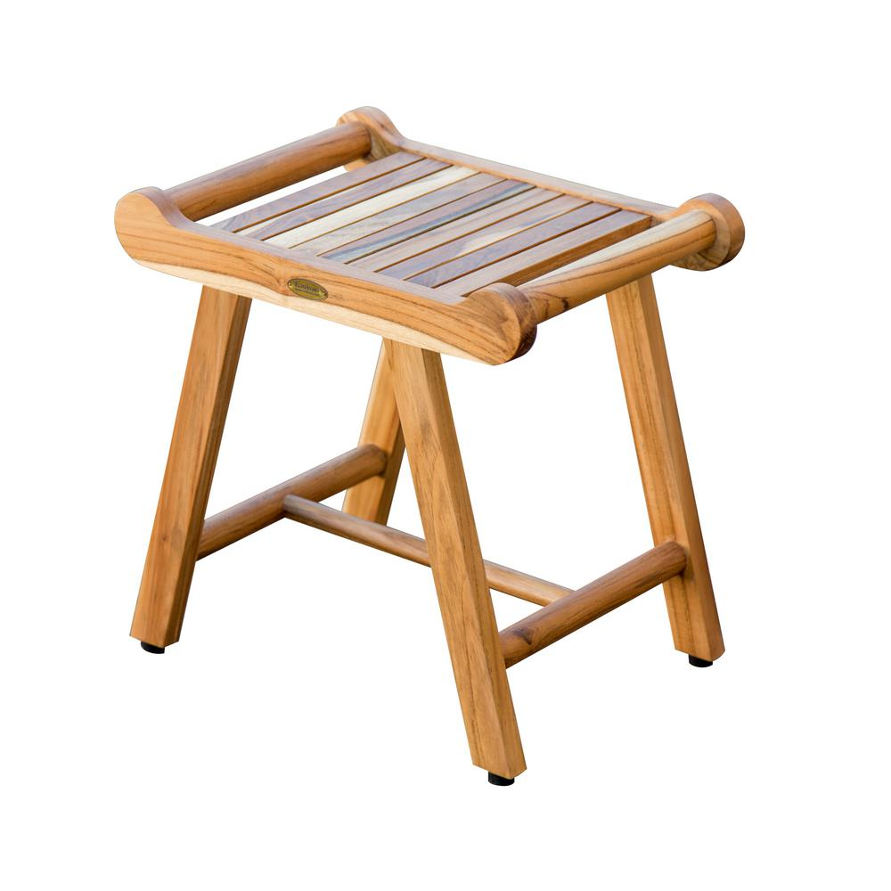 SensiHarmony 20 in. W Teak Shower Stool Bench with LiftAide Arms