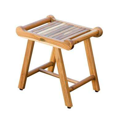 SensiHarmony 20 in. W Teak Shower Stool Bench with LiftAide Arms in Natural Teak