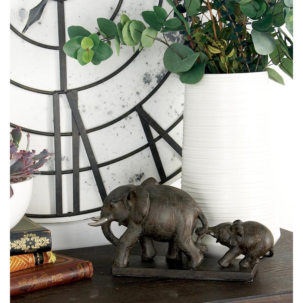 2-Standing Elephants Polystone Sculpture