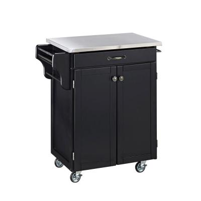 Cuisine Cart Black Kitchen Cart with Stainless Top