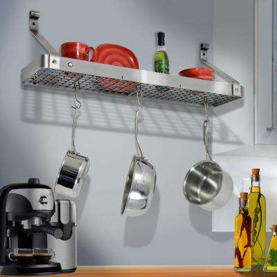 Handcrafted 36 in. Stainless Steel Gourmet Bookshelf Wall Rack with 12-Hooks Stainless Steel
