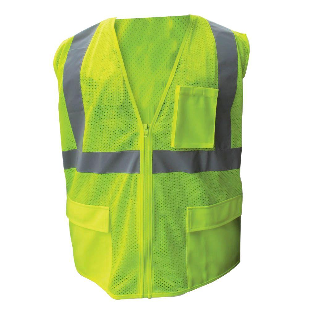 Enguard Size Extra-Large Lime ANSI Class 2 Poly Mesh Safety Vest with 2 in. Silver Striping
