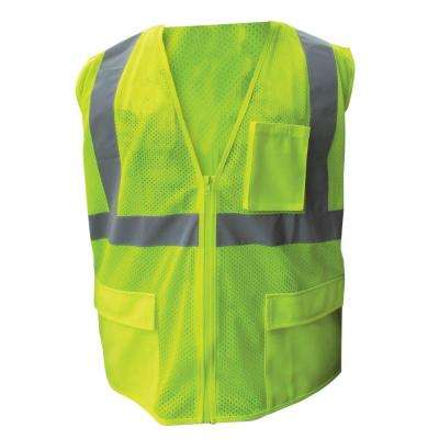 Size Extra-Large Lime ANSI Class 2 Poly Mesh Safety Vest with 2 in. Silver Striping