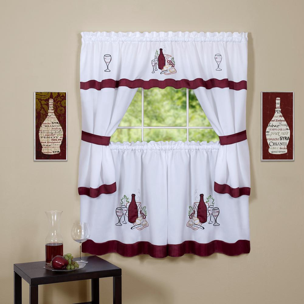 GALA RED APPLES EMBELLISHED CURTAINS AND TOPPER COTTAGE SET