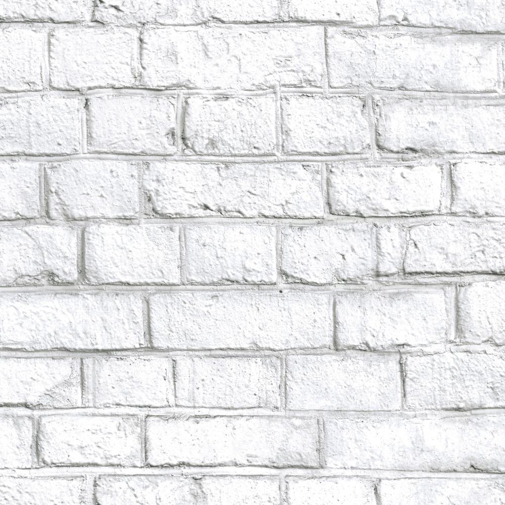RoomMates 28.18 sq. ft. White Brick Peel and Stick Wallpaper