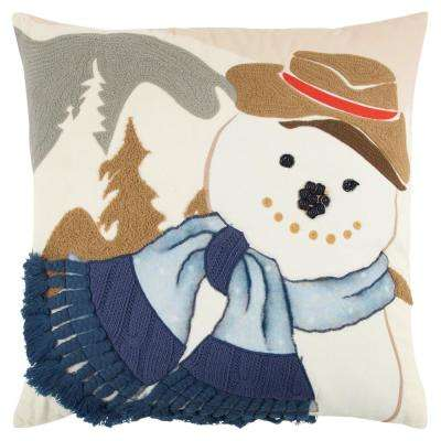Holiday Snowman 20 in. x 20 in. Decorative Filled Pillow