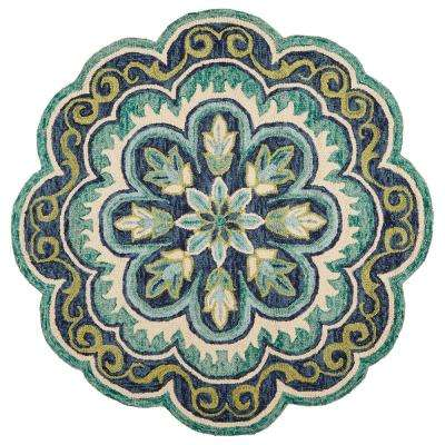 Dazzle LR54076-GRN40RD Green Round 4 ft. x 4 ft. Indoor Area Rug