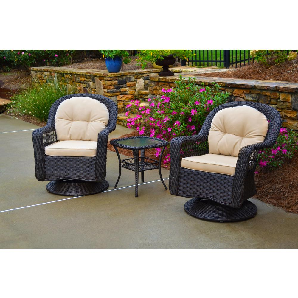 Biloxi 3 piece espresso wicker outdoor glider with tan cushions bistro set 2 swivel chairs and bistro table