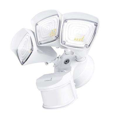 3-Head Security 37.5-Watt 270 White Motion Activated Outdoor Integrated LED Flood Light with Photocell