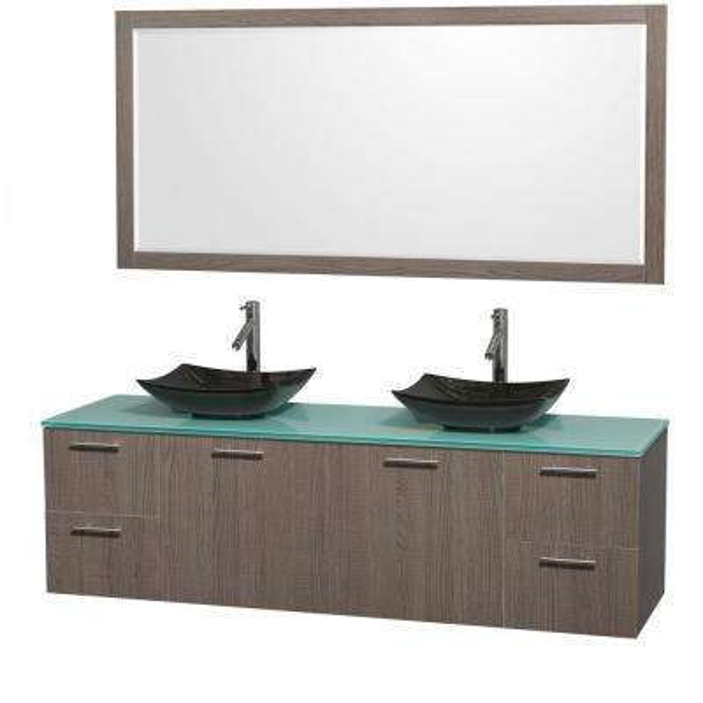 Amare 72 in. Double Vanity in Gray Oak with Glass Vanity Top in Green, Granite Sinks and 70 in. Mirror