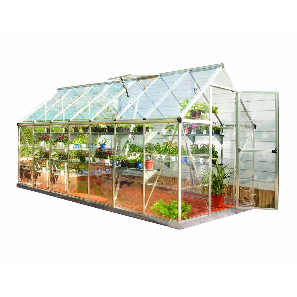 Palram Harmony 6 ft  x 14 ft  Polycarbonate Greenhouse in Silver