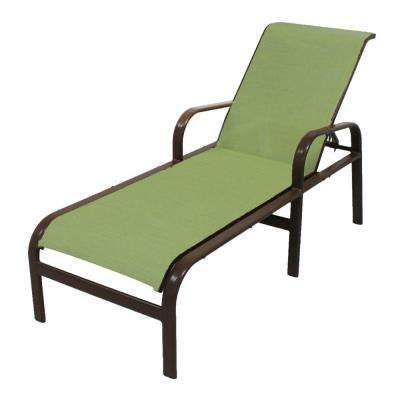 Marco Island Dark Cafe Brown Commercial Grade Aluminum Patio Chaise Lounge with Dupione Kiwi Sling
