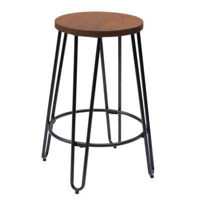23.82 in. Matte Black Bar Stool