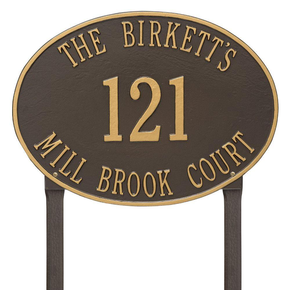 Hawthorne Estate Oval Bronze/Gold Lawn 3-Line Address Plaque