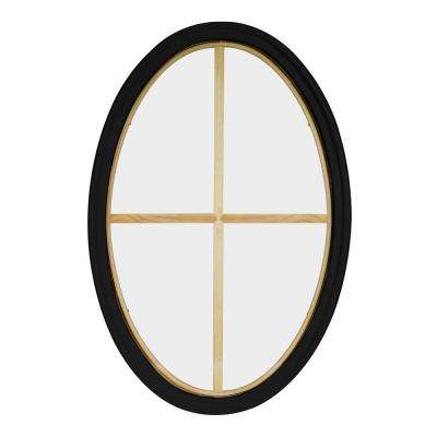 30 in. x 48 in. Oval Black 6-9/16 in. Jamb 3-1/2 in. Interior Trim 4-Lite Grille Geometric Aluminum Clad Wood Window