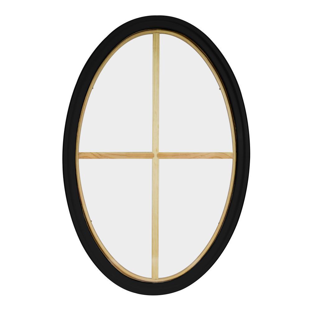 34 in. x 54 in. Oval Black 4-9/16 in. Jamb 2-1/4 in. Interior Trim 4-Lite Grille Geometric Aluminum Clad Wood Window
