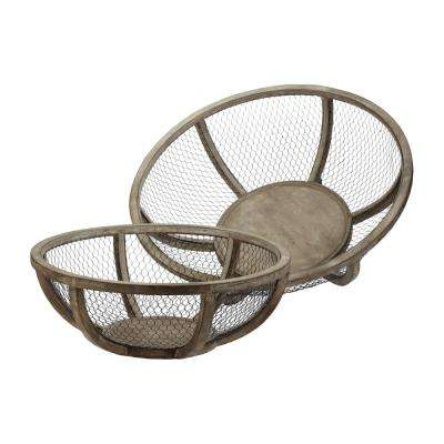 Wire Atlas 22 in. and 27 in. Wood and Wire Decorative Bowls in Natural Wood and Dark Bronze (Set of 2)