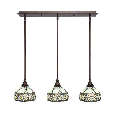 3-Light Bronze Island Pendant with Royal Merlot Tiffany-Style Glass