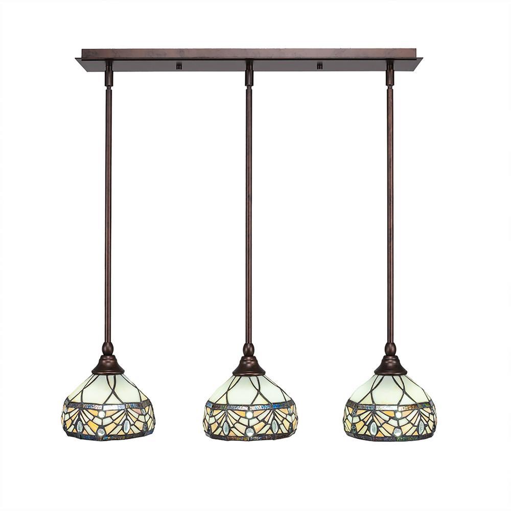 3-Light Bronze Island Pendant with Royal Merlot Tiffany-Style Glass