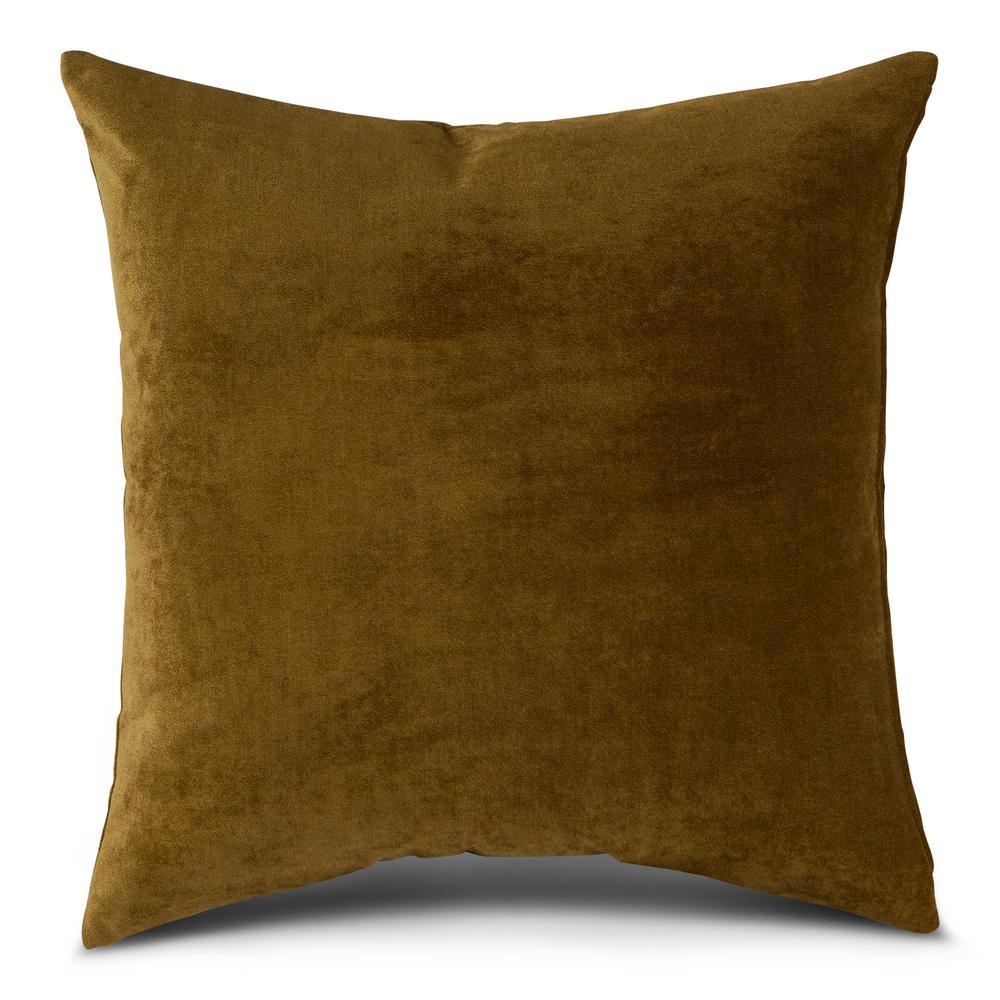 Solid Juniper Velvet 24 in. x 24 in. Square Throw Pillow Cover