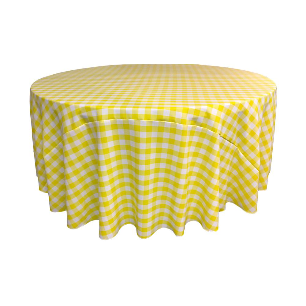 LA Linen 120 In. White And Light Yellow Polyester Gingham Checkered Round  Tablecloth