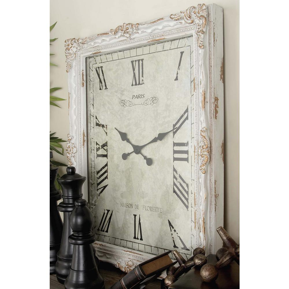 36 in x 27 in traditional rustic carved wood rectangular wall traditional rustic carved wood rectangular wall clock in distressed white 20348 the home depot amipublicfo Image collections