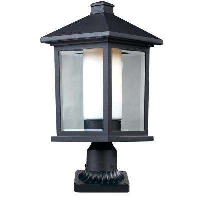 Ryker 1-Light Outdoor Black Post Light with Clear Beveled and Matte Opal Glass Shade