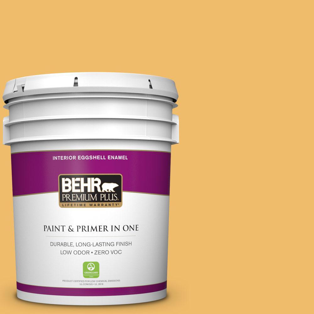 BEHR Premium Plus Home Decorators Collection 5-gal. #HDC-MD-24 Luscious Lemon Zero VOC Eggshell Enamel Interior Paint