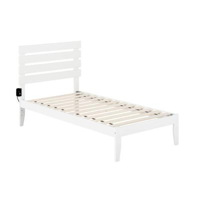 Oxford Twin Bed with USB Turbo Charger in White