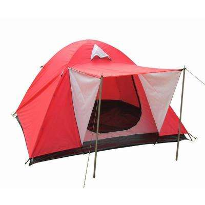 3-Person Dome Tent with Door Canopy in Red