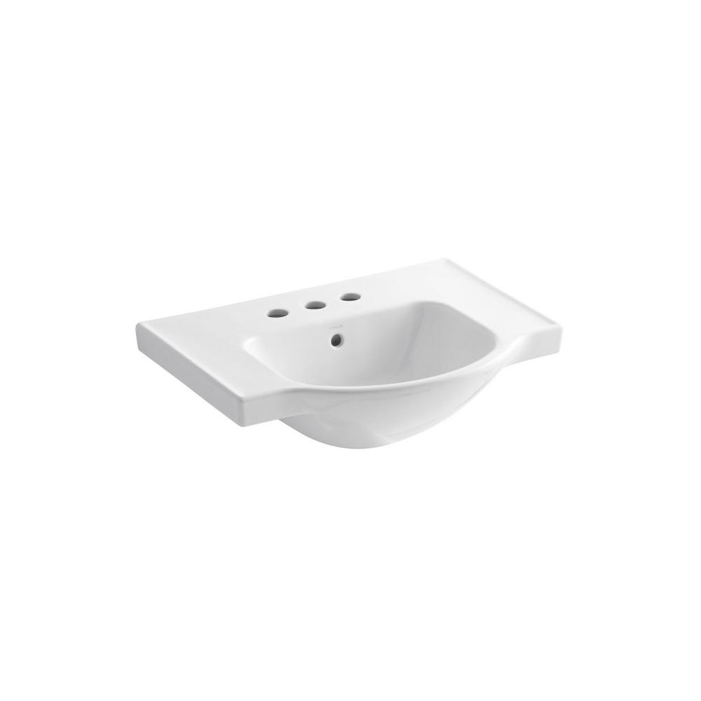 Veer 24 in. Vitreous China Pedestal Sink Basin in White