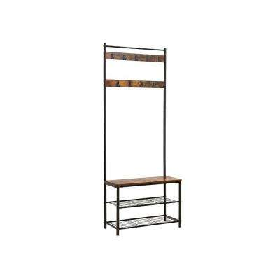 Brown and Black Metal and Wood Coat Rack with Nine Hooks and Storage Shelves