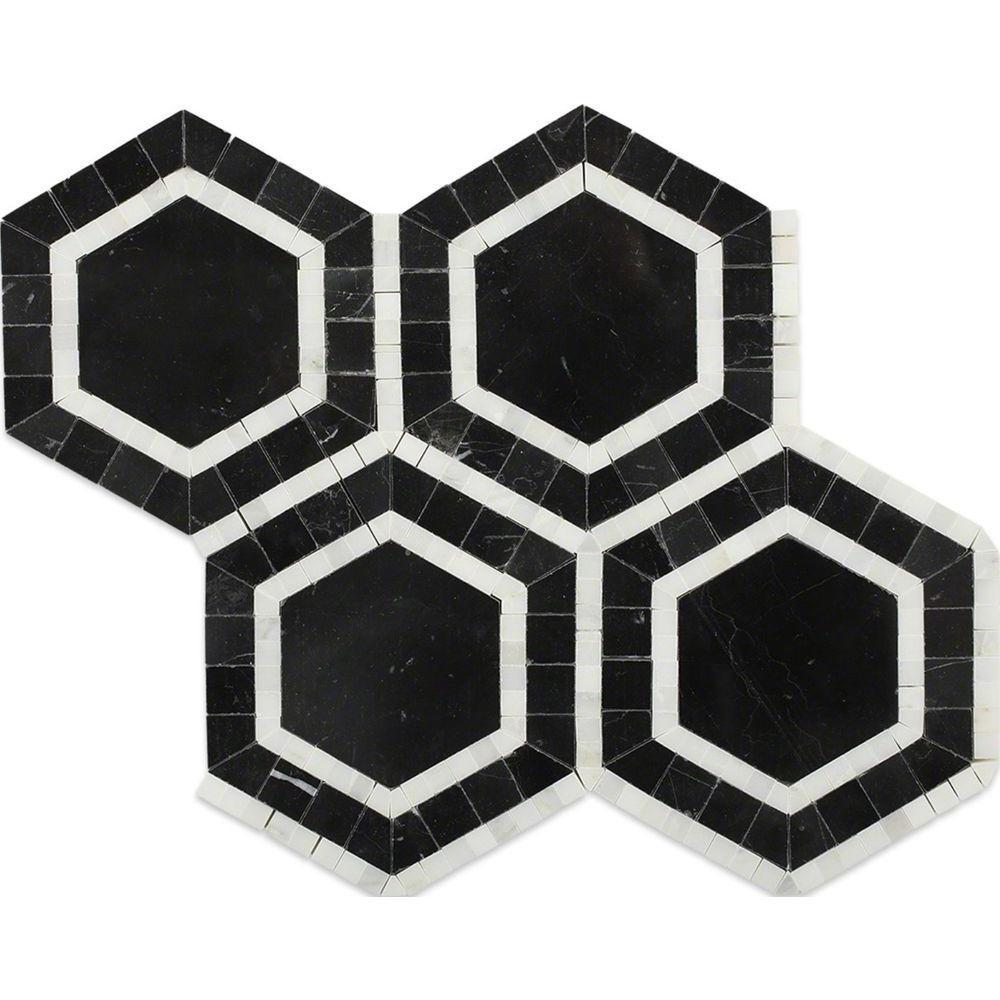 Zeta Nero Polished Marble Tile - 6 in. x 6 in. Tile Sample