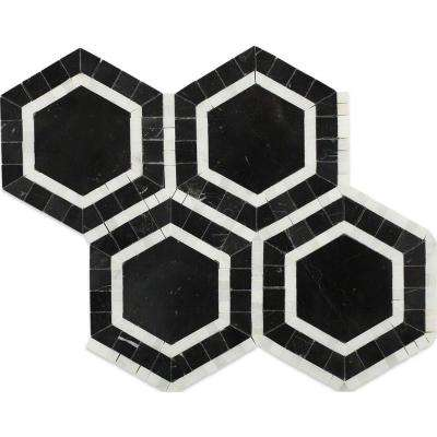 Zeta Nero 10-3/4 in. x 12-1/4 in. x 10 mm Polished Marble Mosaic Tile