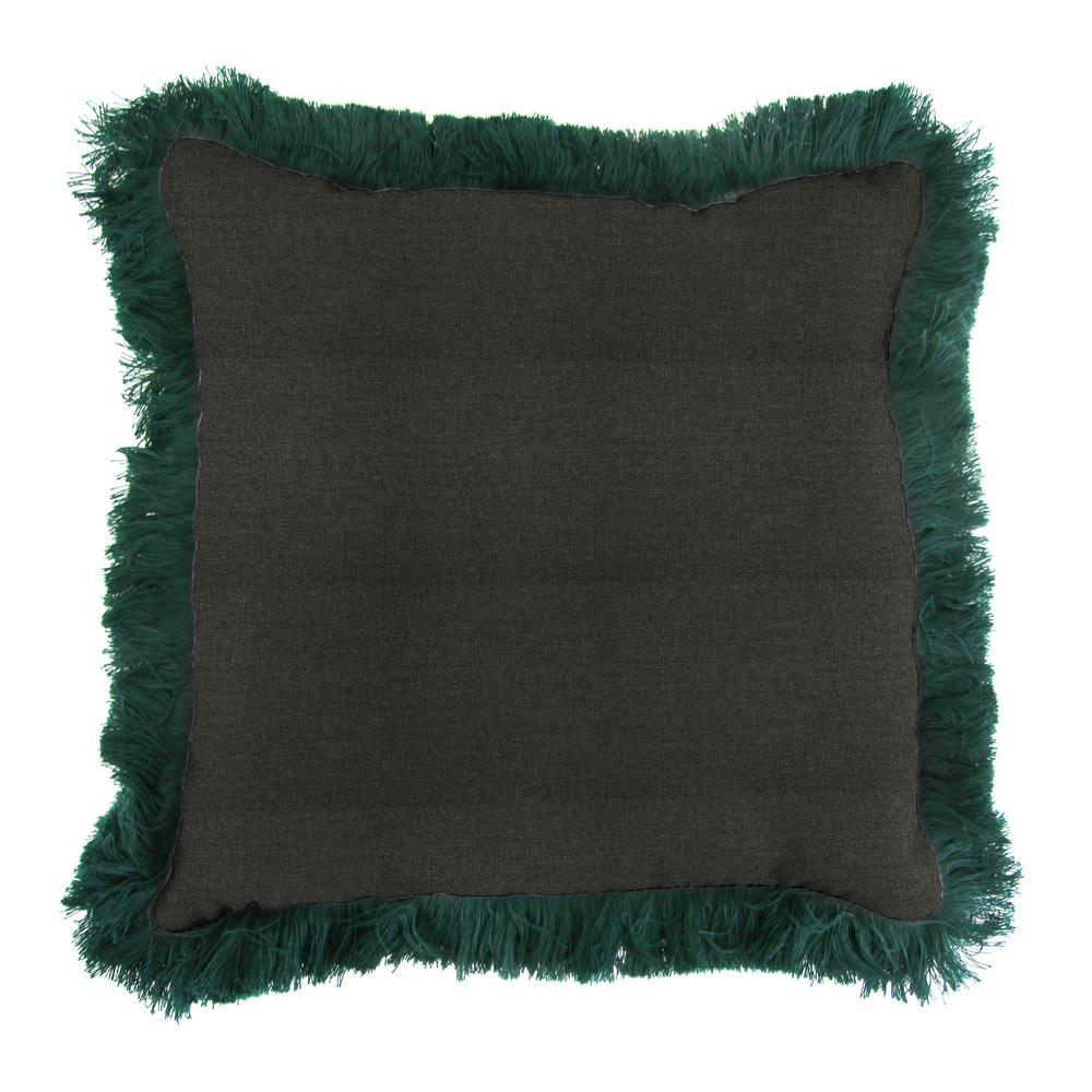 Sunbrella Spectrum Carbon Square Outdoor Throw Pillow with Forest Green Fringe