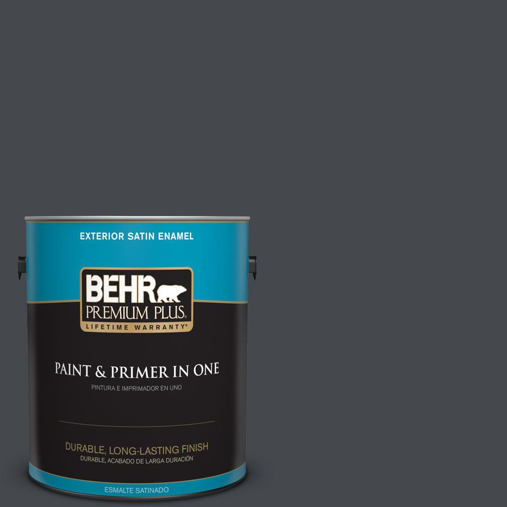 BEHR Premium Plus 1-gal. #N490-7 Ink Black Satin Enamel Exterior Paint